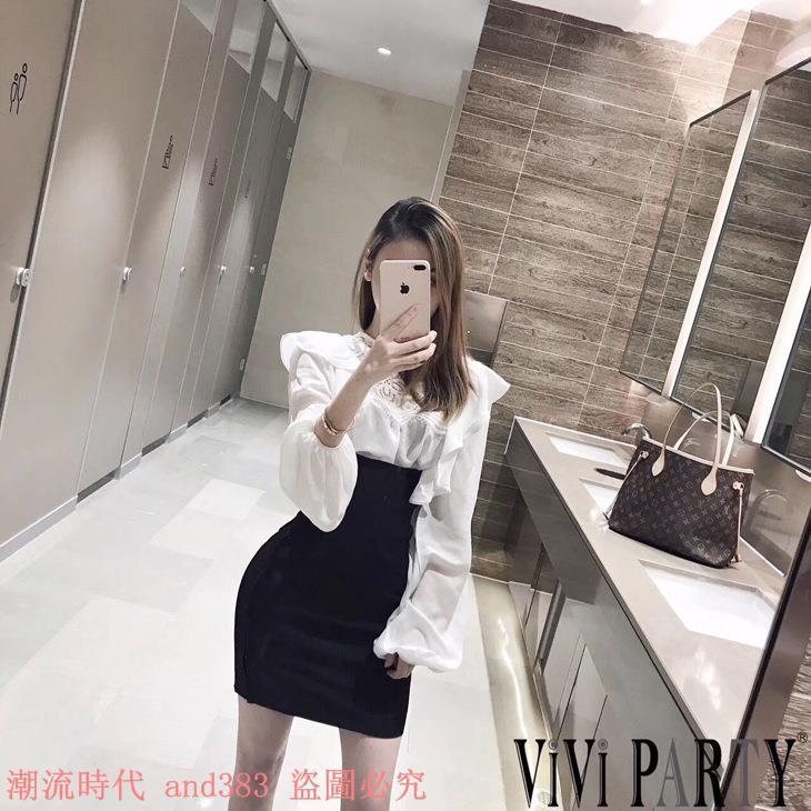 復古宮廷風閃閃荷葉邊拼蕾絲燈籠袖長袖襯衫+高腰包臀半裙套裝女