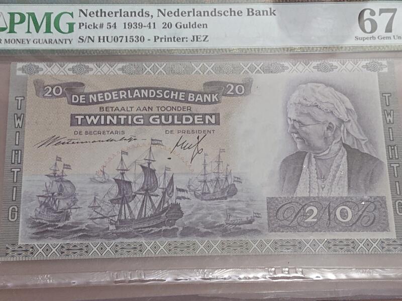 1939荷蘭早期鈔票 高分評級