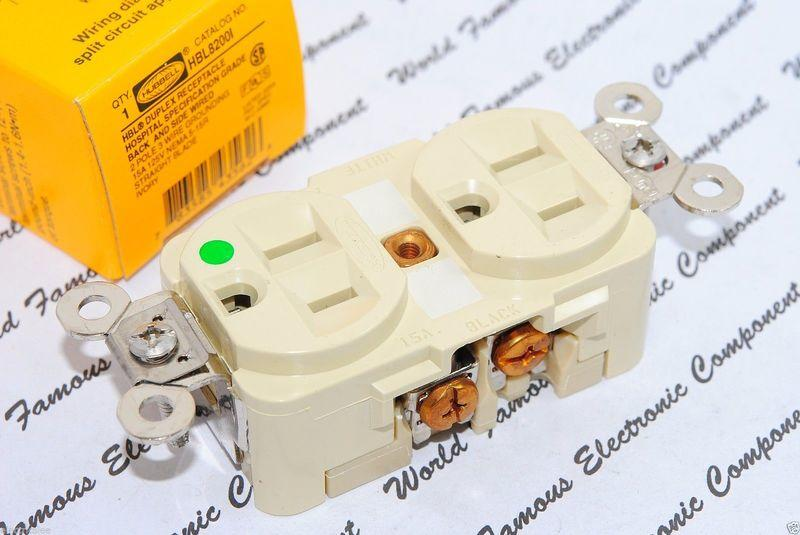 Hubbell HBL8200I 15A 125V NEMA 5-15 DUPLEX型 乳白/象牙色 醫療級鍍鉻插座