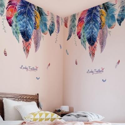 999小舖浪漫羽毛壁紙自黏臥室溫馨牆壁貼畫客廳沙發背景牆餐廳