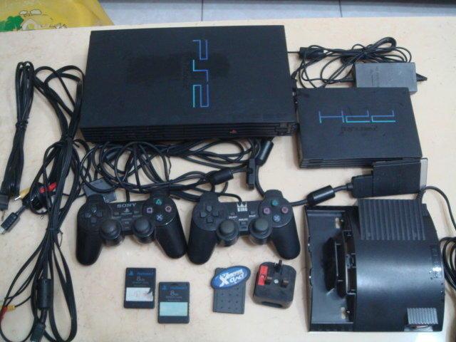 SONY PS2 主機 SCPH-10000 + HDD 硬碟 + 原廠記憶卡 8MB 2片