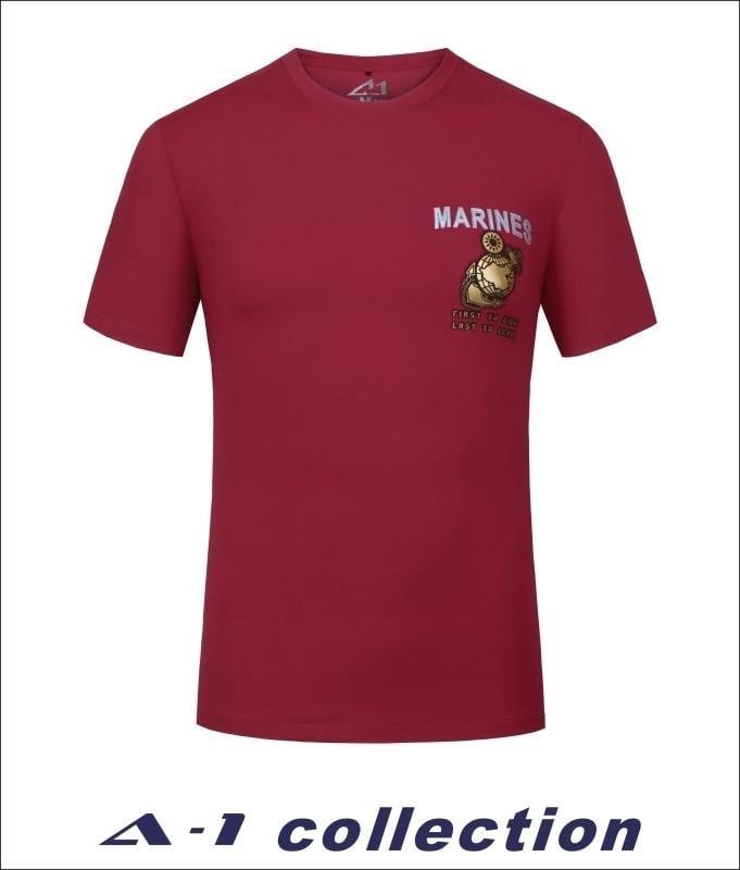 【A-1】 磨毛立體印花T_MARINES 紅 #62359-65 短袖上衣 男上衣 排汗衣 軍風 t恤 吸排汗 陸戰隊
