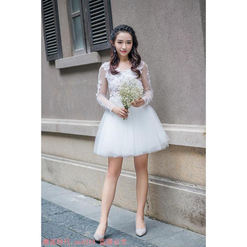 甜美蕾絲釘珠連衣裙小禮服伴娘裙V領網紗公主裙露背蓬蓬裙短裙夏