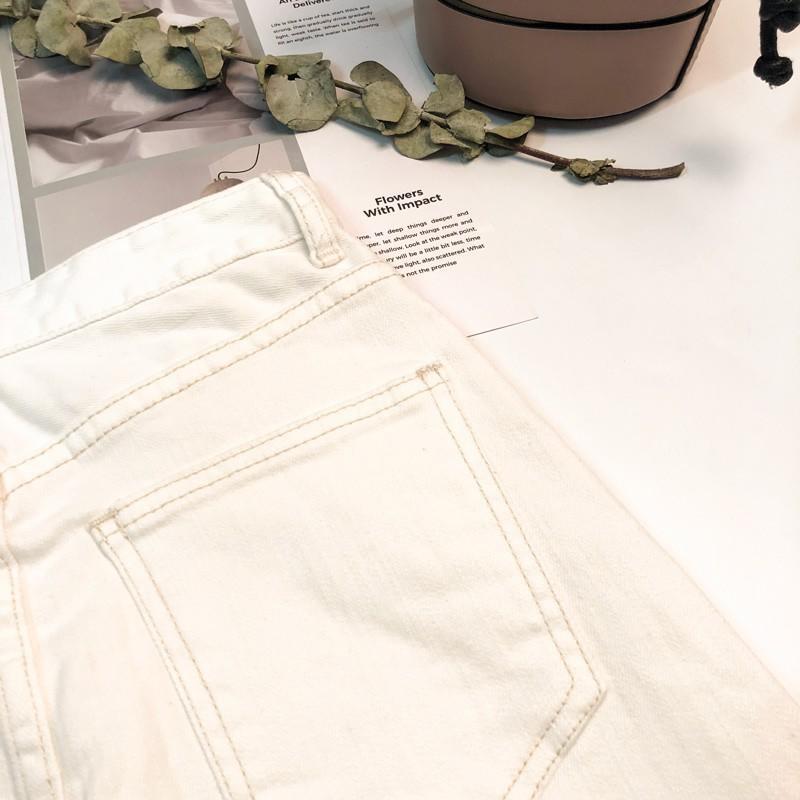 上新▲韓國訂制白色牛仔開叉中長款半身裙