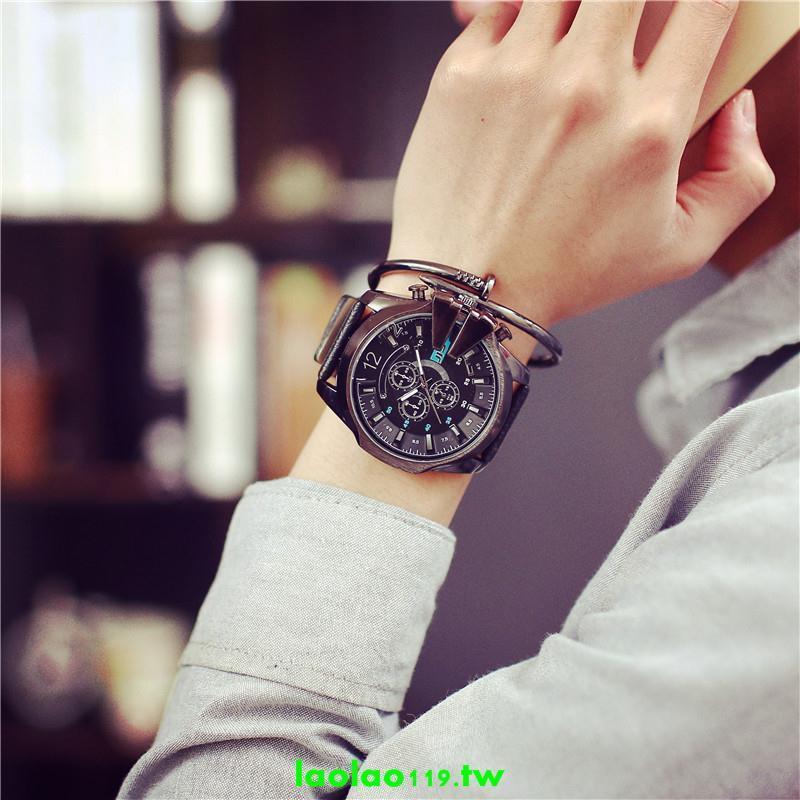 超棒 開學必備 權志龍bigbang同款韓國潮男款大表盤手表女學生歐美黑色潮牌潮表