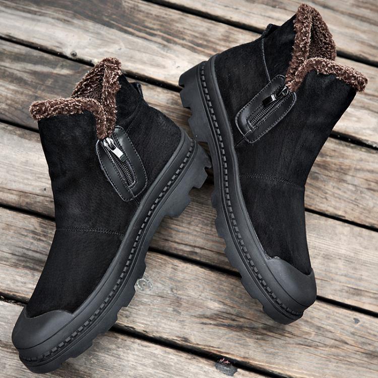 靴子季棉鞋男士雪地靴男加絨刷毛加厚保暖中高幫馬丁靴男短靴潮防潑水男鞋—自然居家