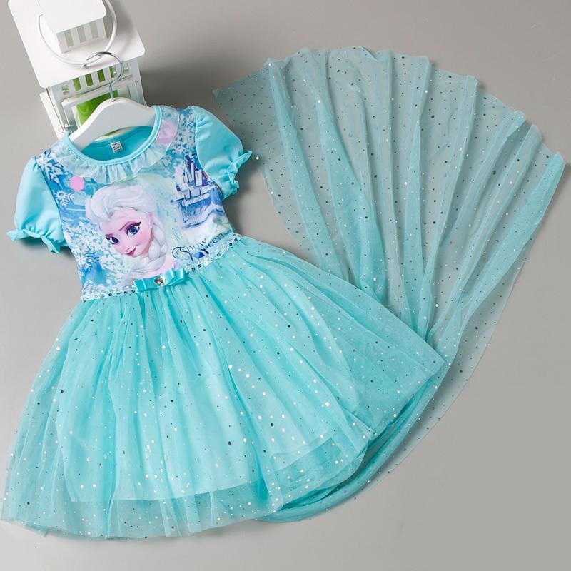 兒童冰雪奇緣公主裙春夏季短袖艾莎童裝女童連衣裙寶寶禮物