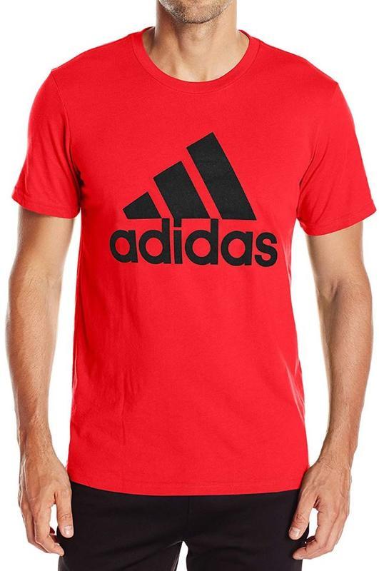 火星人} Adidas Badge Sport 紅色男排汗運動短袖T恤 AZ1541