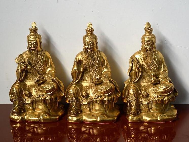 黃銅道教三清 元始天尊 靈寶天尊 道德天尊 神像供奉裝飾擺件