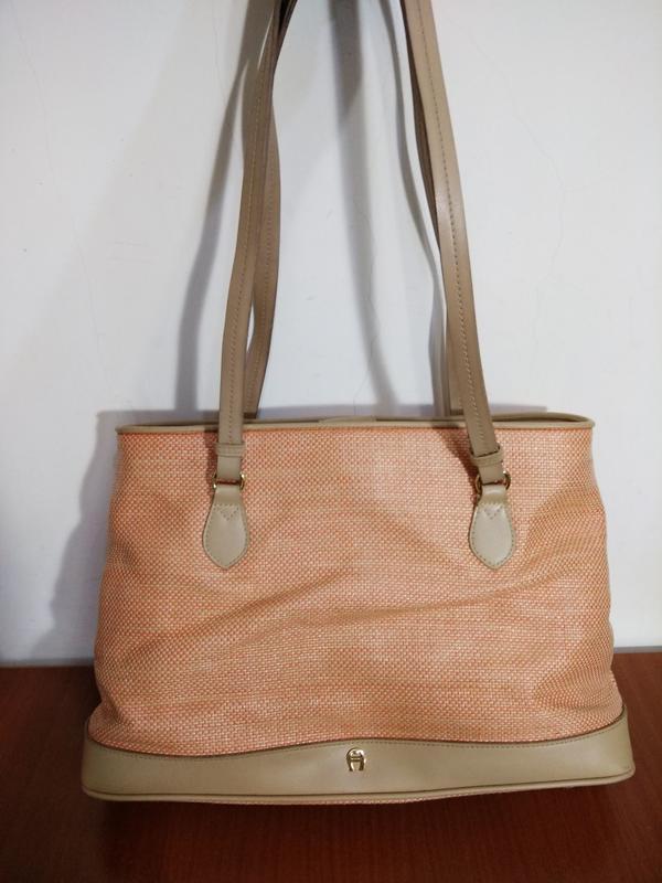 德國 Aigner 夏日 粉橘 托特包 側背包