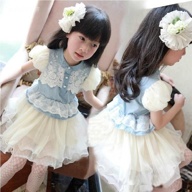 童裝女寶寶夏裝2016新款女童牛仔連衣裙夏季兒童公主裙小女孩裙子