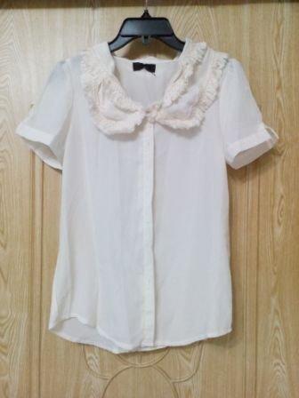 超氣質!韓貨 浪漫 雪紡 米白 流蘇 雪紡 絲紗 修飾 氣質 上衣 襯衫 蕾絲滾邊 特價120含運