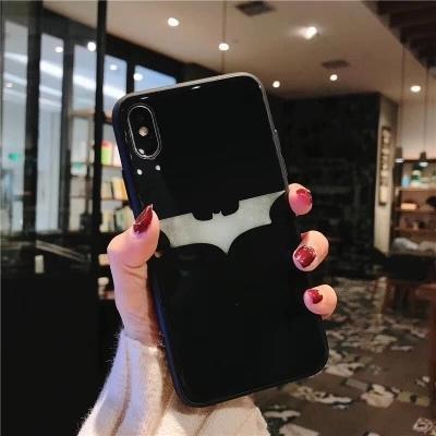 iphone x 8 7 6 6s plus 手機殼 美國隊長盾牌 黑超人 蝙蝠俠 玻璃 手機套 全包軟邊 防摔 保護套