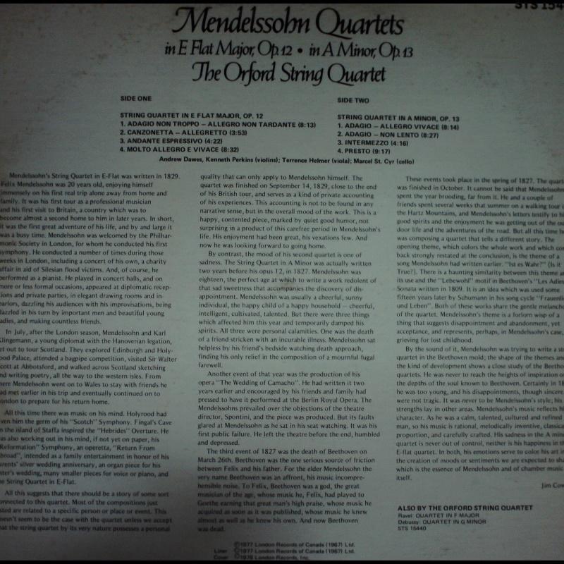 古典-London/STS 15463/孟德爾頌:四重奏作品降E大調Op.12等/奧福德弦樂四重奏