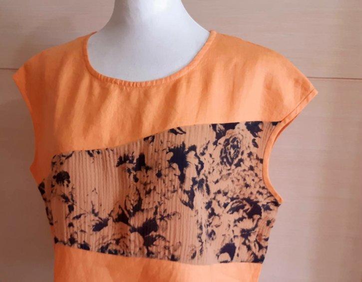 【荷湘田】夏裝--復古風圓領無肩線印花拼接短版棉麻上衣
