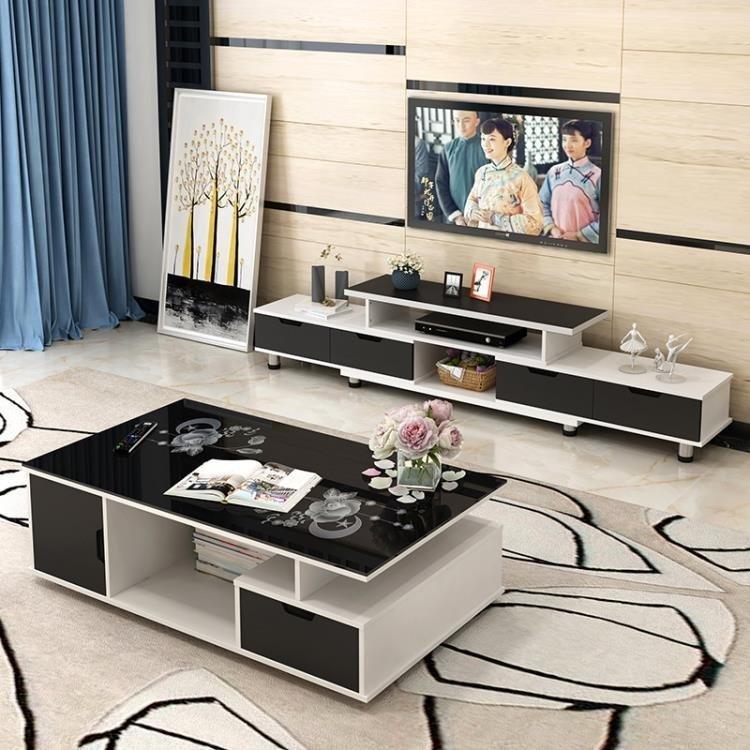 電視柜茶幾組合現代簡約迷你伸縮簡易電視機柜小戶型客廳地柜FA