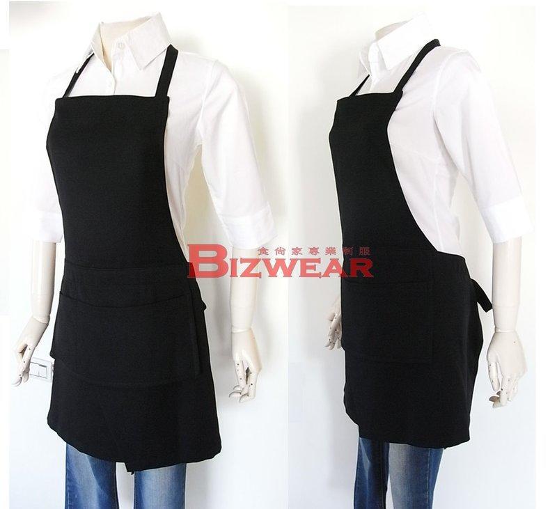 【食尚家】-餐飲餐廳專用圍裙,商用圍裙,短裙圍裙,黑色素色,素面專業圍裙,咖啡廳,全身雙層口袋圍裙-黑色