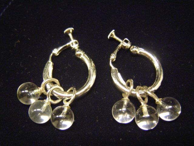 ☆MOOMBA☆ 夾式耳環 銀色 透明球形 耳環