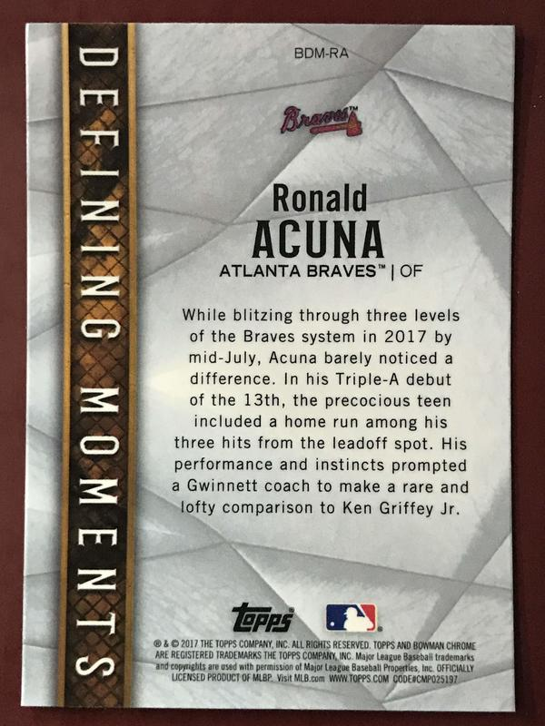 2017 Bowman Chrome #BDMRA Ronald Acuna 新人特卡 勇士隊