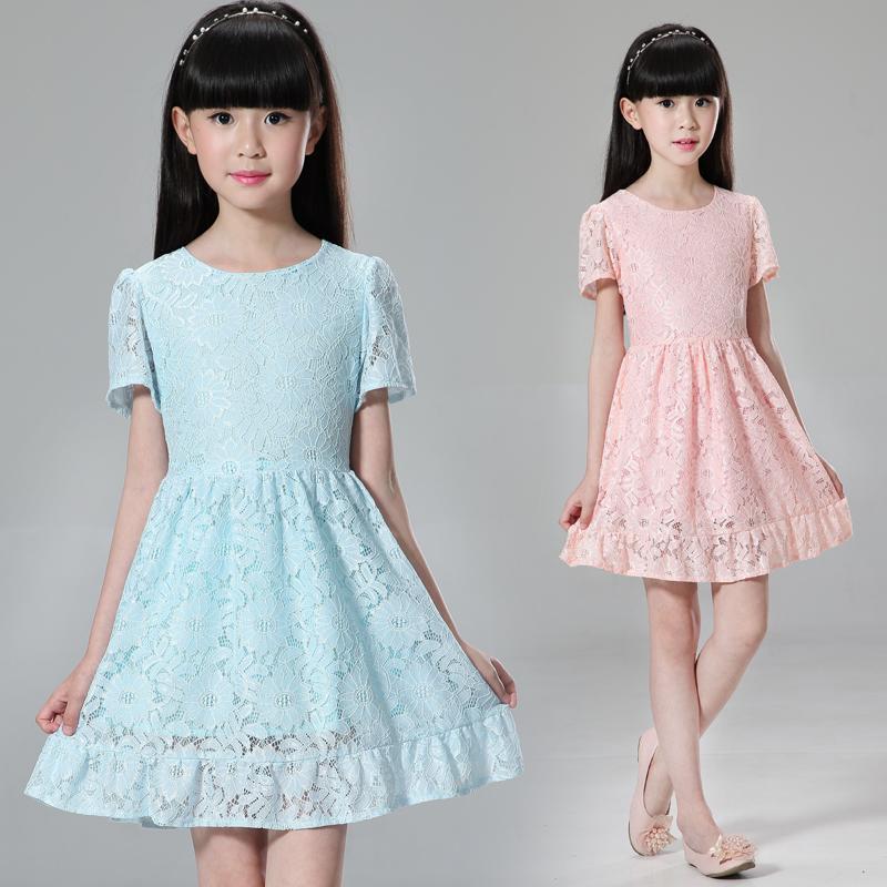 春秋類女童字裙中大童長袖蕾絲公主裙兒童連衣裙夏季新短袖禮服