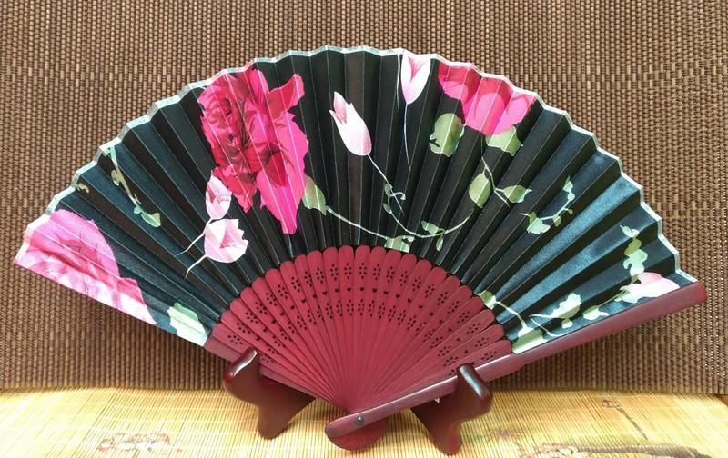 現貨夏季日本和風絹布扇子 竹片折扇 古典小扇子