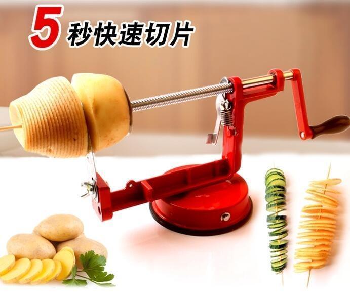 不銹鋼手動旋轉薯塔機土豆龍卷風切片機旋風薯片機螺旋串切削工具