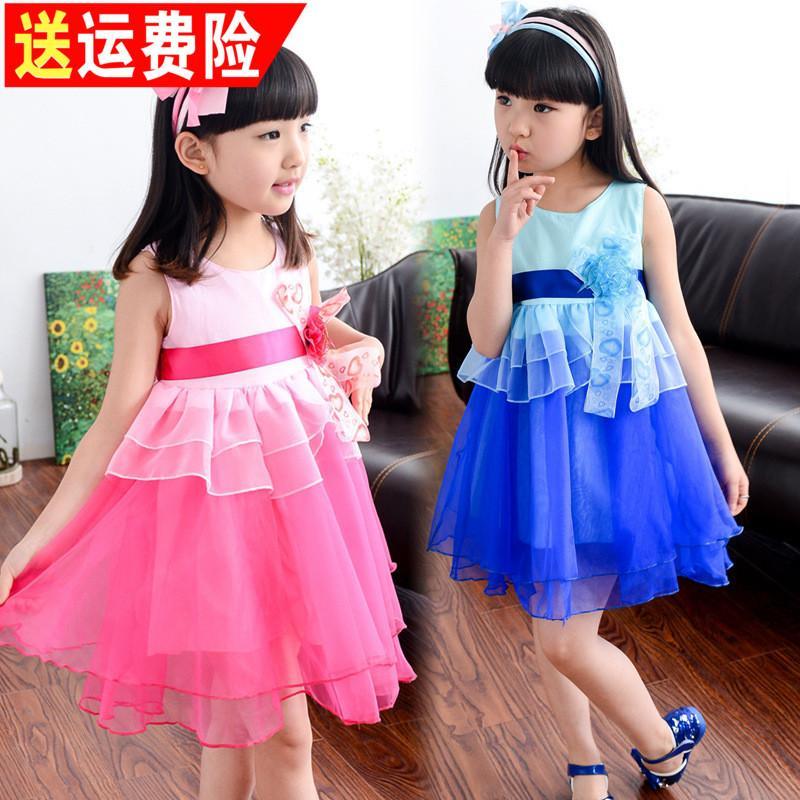 2016新款夏裝女童連衣裙5女孩7夏季8公主裙9網紗10兒童短裙子12歲
