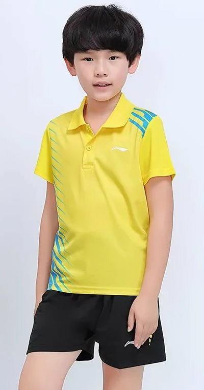 【東方威力】2017全新 李寧 LI NING 兒童版 羽毛球 桌球 運動上衣 短褲 吸溼排汗快乾 型號 7301