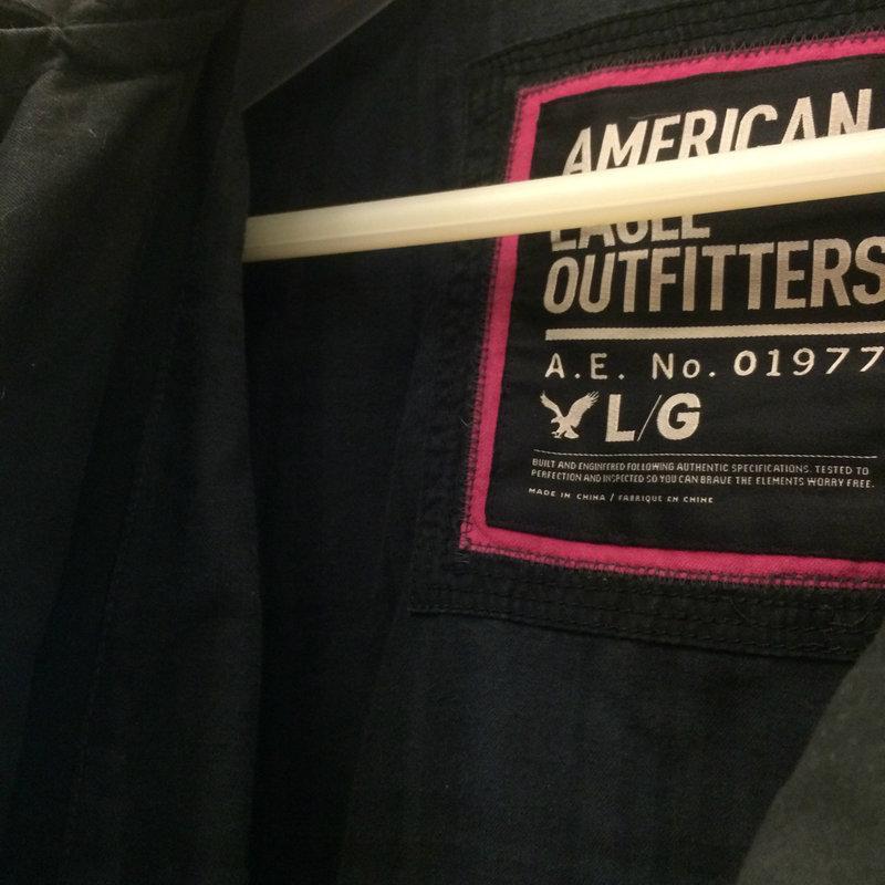 American Eagle/AE Peacoat 黑色短版雙排釦棉質軍裝大衣外套 L號(A&F, Hollister)