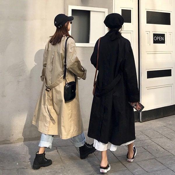 超長版 風衣 外套 西裝 大衣 雙排釦 腰帶 長版 寬鬆 顯瘦 帥氣 卡其 黑 韓國 歐美 BEGIN