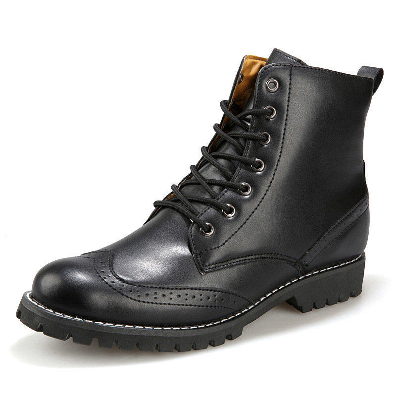 英倫男士高幫靴子布洛克雕花男鞋子加棉百搭潮流棉鞋