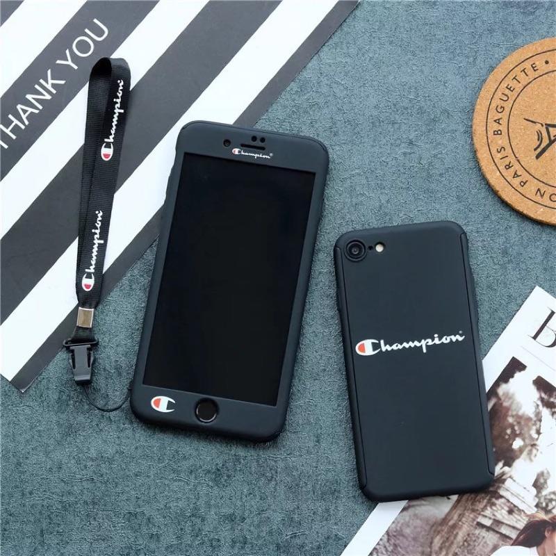 「部分現貨」蘋果iphone6/6splus/7/7plus手機殼前後扣全包磨砂硬殼 帶掛繩 champion情侶手機殼