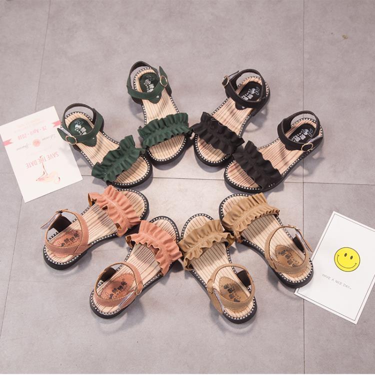 女童涼鞋 2019新款韓版夏季兒童羅馬鞋小女孩軟底防滑涼鞋中大童露趾沙灘鞋