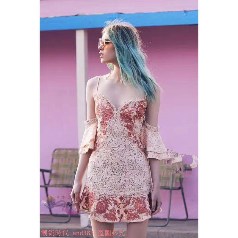 2017夏季新款重工度假風刺繡性感V領荷葉邊吊帶魚尾連衣裙