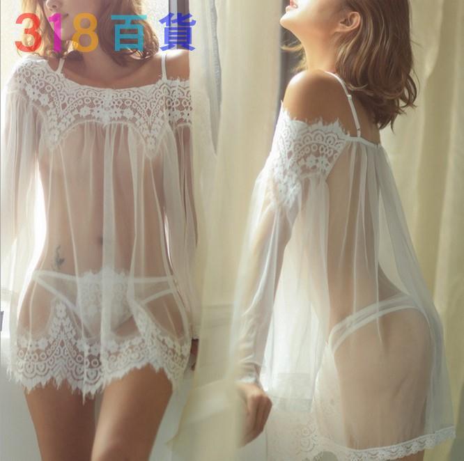 318百貨-歐美新款性感誘惑露肩蕾絲睡裙套裝透視網紗情趣內衣