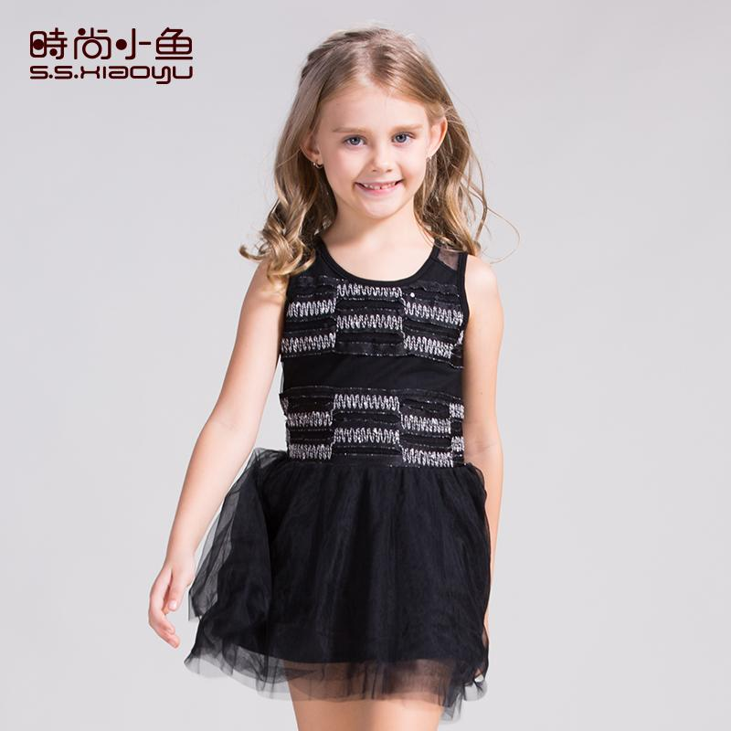 時尚小魚兒童連衣裙夏季2016童裝女童公主裙夏裝裙子中大童背心裙