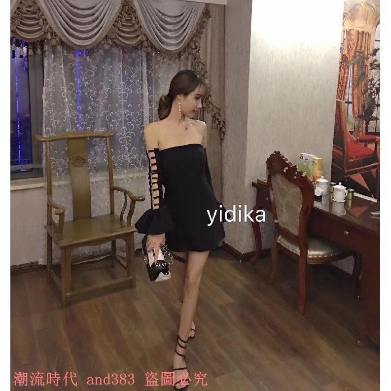 泰國潮牌 性感一字領鎖扣鏤空喇叭袖包臀短裙連衣裙