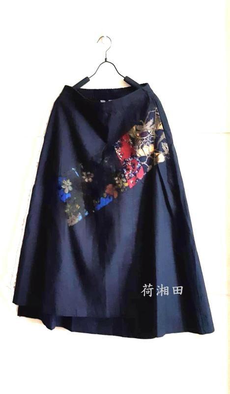 【荷湘田】夏裝--復古風半鬆緊腰雙口袋古典印花貼布八分A字裙長裙