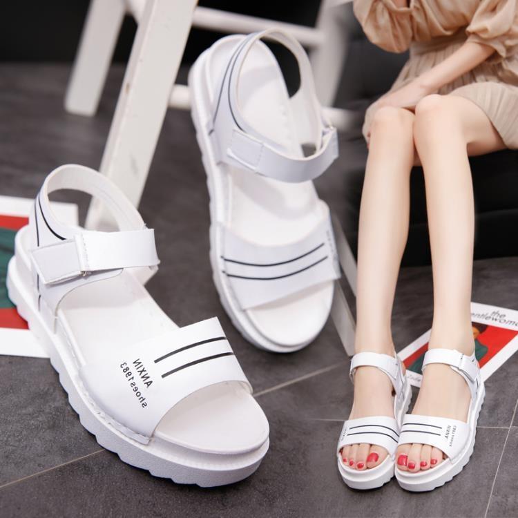 【新鮮上貨 全館免運】厚底鬆糕涼鞋百搭韓版防滑女鞋【脆殼蟹】