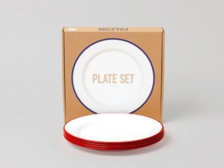 英國Falcon獵鷹琺瑯 24cm平盤四件組 餐盤 琺瑯盤 果醬紅 現貨