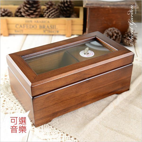 Sweet Garden, 復古木製收納音樂盒(可選曲) 磁吸式首飾珠寶盒 玻璃盒蓋 可放永生花 送女朋友 生日禮物