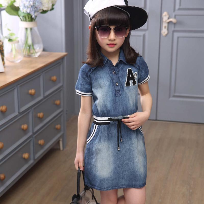 女童牛仔連衣裙夏季超薄韓版短袖收腰中大兒童裝時尚純色公主裙子