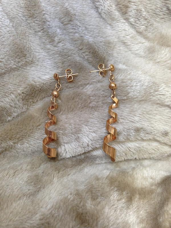黃金螺旋鑽頭耳環