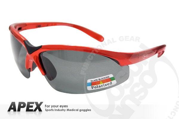 大里RV城市【APEX】運動型太陽眼鏡-偏光鏡.防滑.抗UV護目鏡.軟質高鼻墊.登山 滑雪/橘紅 908