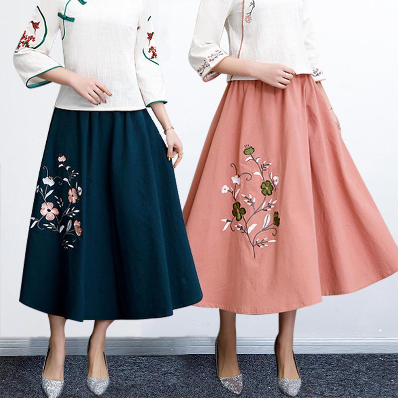YD687046預購款~棉麻半身裙2019春季新款民族風女裝繡花鬆緊腰中國風唐裝百搭裙