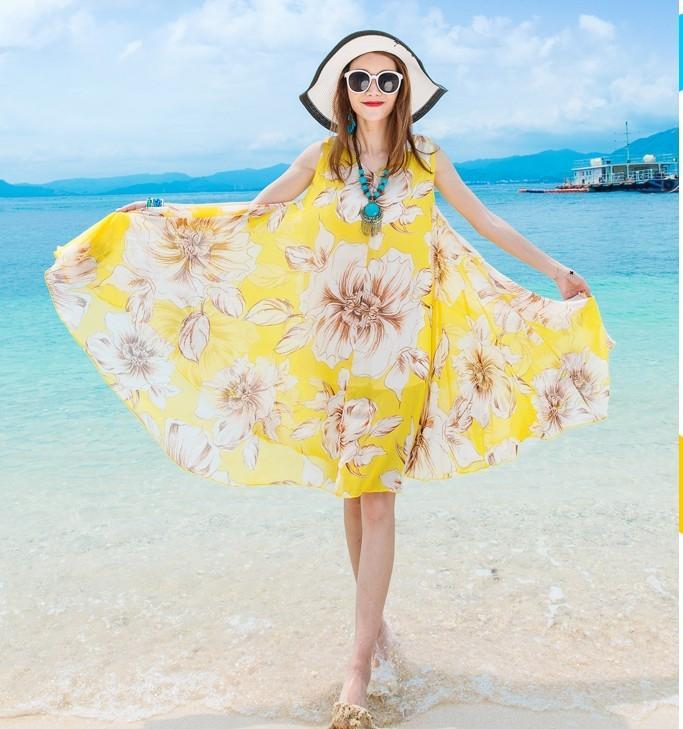 【可開發票】維緋夏新款雪紡印花胖MM大碼連身裙波西米亞海邊度假大擺沙灘裙※優品百貨※