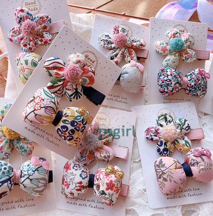PS girl 衣飾館--2651韓國手工立體花朵/蝴蝶結(二件一組)髮夾 瀏海夾--不挑款隨機出貨(現貨)