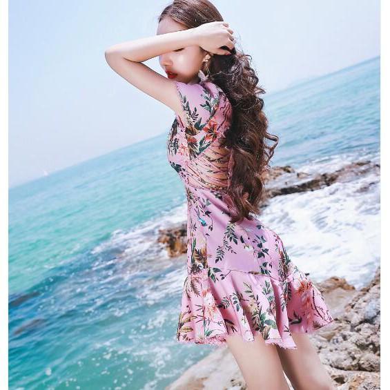 夏新款女旅游海邊度假沙灘裙性感露背綁繩印花魚尾連衣裙名媛禮服