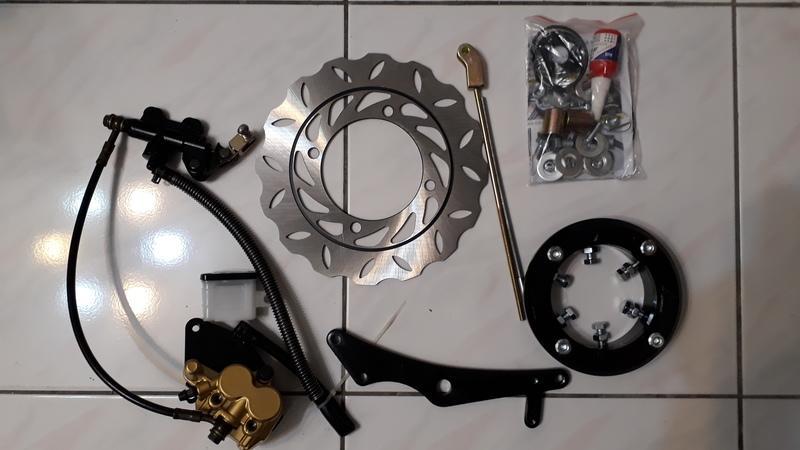 天箭(超制動)檔車改裝後輪碟煞適用套件14.15.16CM 訂製套件 ( KTR 野狼 酷龍 勁 金勇可參考直上)