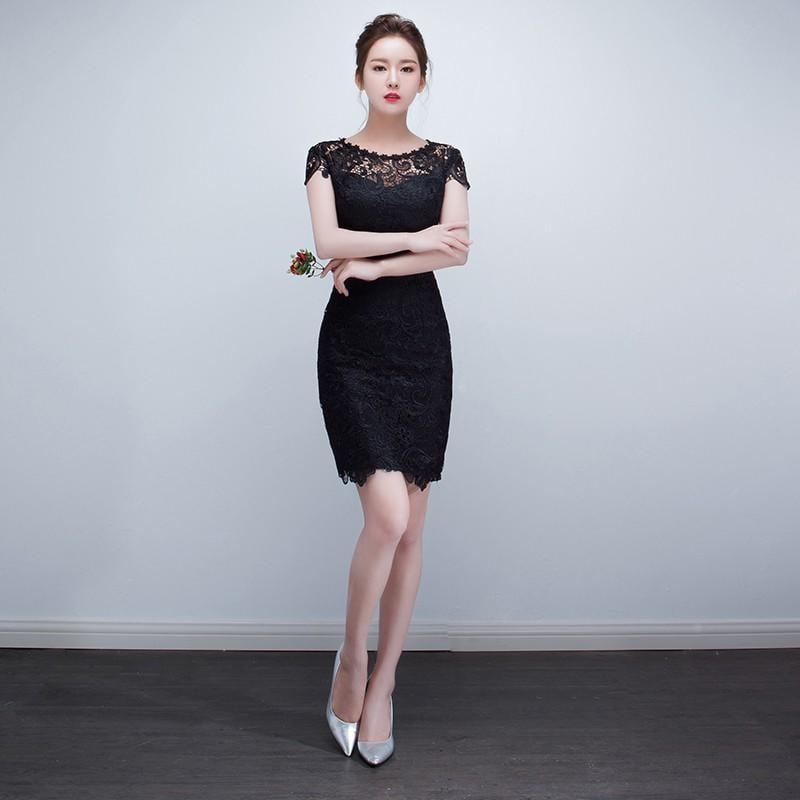 2017新款改良版時尚魚尾黑色旗袍連衣裙短款修身日常少女長款秋冬
